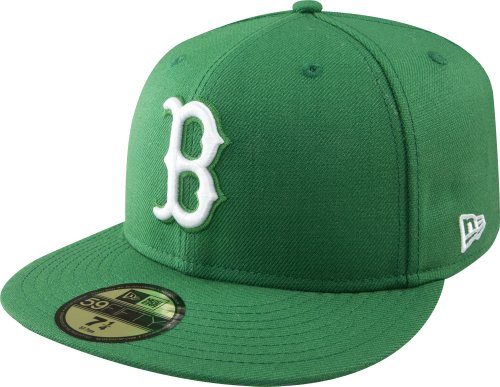 MLB Boston Red Sox Kelly with White 59FIFTY Fitted Cap, 7 - Green Sox Kelly