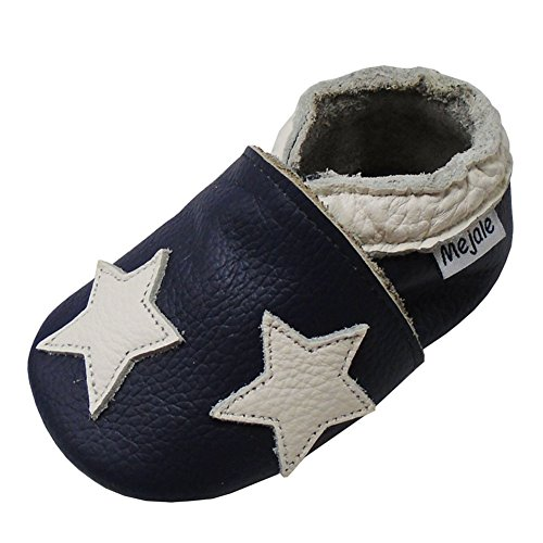 Mejale Baby Shoes Toddler Infant Soft Leather Sole Newborn Boys Girls Crib Moccasins(Navy Blue,6-12 Months)