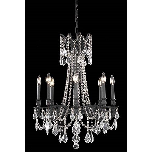 Elegant Lighting 9208D24DB/SS Rosalia Collection 8-Light Hanging Fixture with Swarovski Strass/Elements Crystals, Dark Bronze Finish