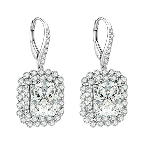 AmDxD Jewelry 925 Sterling Silver Custom Make Earring Women Drop Earrings Shiny Square CZ Inlaid