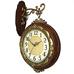 Vintage double sided wall clock,Mute solid wood wall clock Two-sided clock European antique quartz clock