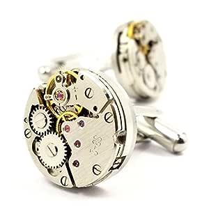 Cufflinks,MFYS Mens Cufflinks Vintage Watch Movement Shape Cufflinks Gift for Men/Father's Day/Lover/Friends/Wedding/Anniversaries/Birthdays with A Elegant Box