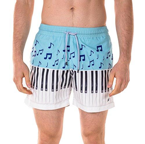 "Spenglish Men's Piano 4.5"" Swim Trunks, Blue, XL"