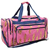 Gold Feather Pink NGIL Canvas Carry on Shoulder 23'' Duffle Bag
