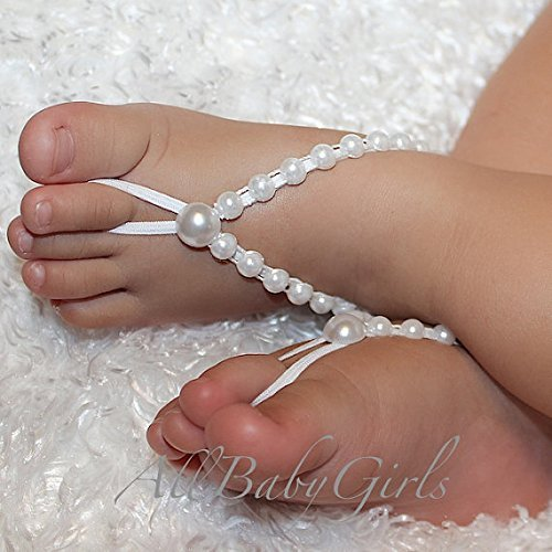 amazon com handmade white chain of pearls baby barefoot sandals by