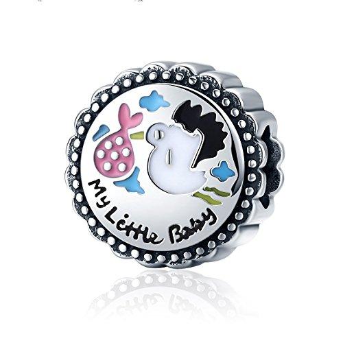 Everbling My Little Baby Girl Boy Brother Sister Family Love 925 Sterling Silver Bead For European Charm Bracelet (My Little Baby Stork Brings (Girl Stork Charm)