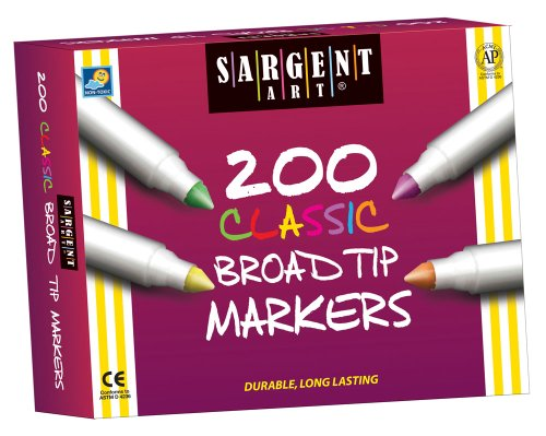 Sargent Art 200-Count Broad Tip Classic Marker Class Pack, Best Buy Assortment, 22-1527 -  SAR221527