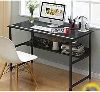 Pengfei Minimalist Table with shelf/Study Desk (Size : 120CM Black)
