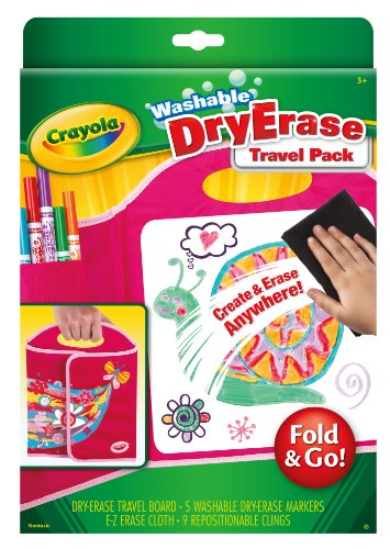 Crayola Washable Dry-Erase Travel Pack, Fold & Go Travel Set Art Gift for Kids & Toddlers 3 & Up, Portable All-In-One Dry Erase Set with Trifold Folio, Markers, E-Z Erase Cloth & Repositionable Clings]()