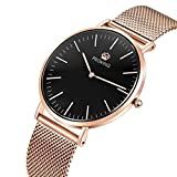 Womens Watch,PROKING Ladies Ultra Thin Fashion Rose Gold Stainless Steel Watch for Women Waterproof Sapphire Crystal Couple Watches (Black Dial)