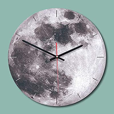 Summarlee Creative Moon Wall Clock Home Living Room Decoration Acrylic European Clock Round,C