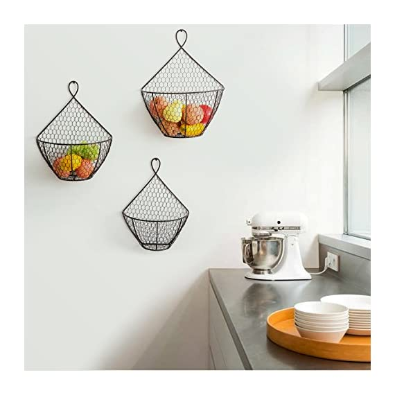 Wall Mounted Brown Metal Fruit Vegetable Baskets, Chicken Wire Hanging Produce Bins, Set of 3 - A decorative and convenient way to store produce. Features a chicken wire design ideal for storing and keeping fruits and produce fresh. Also suitable for storing small toys, shop rags, gloves, mittens, hats, towels, and more. - wall-shelves, living-room-furniture, living-room - 51guHujfX5L. SS570  -