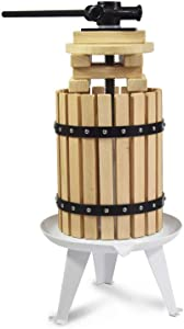 Fruit Apple Cider Wine Classic Press- 4.75 Gallon/18L-Solid Wood Basket-8 Press Wooden Blocks-Pole Handle Bar for Juice,Wine,Cider-Suitable for Outdoor, Kitchen and Home