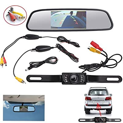 """AGPtek® Wireless Backup CMOS Wide Angle License Plate Camera With 7 LED Night Vision + 4.3"""" TFT LCD Rear View Mirror Monitor Screen"""