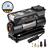 Tire Inflator, Tacklife 12V Air Compressor Pump with Larger Air Flow 35L/Min, 4 Nozzle Metal Adapters, 2 Mode LED Light, Extra Fuse and Auto Digital Car Tire Inflator Gauge 100 PSI - with Carry Bag