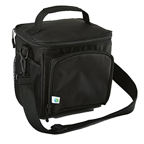Fit & Fresh Small Cooler Bag Lunch Bag Insulated Tote Bag Soft Sided Thermal Bag for Men/Women/Work/Lunch/Fishing/Golfing/Beach/Camp/Picnic, Black