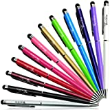 Teviwin 2 in 1 Slim Capacitive Stylus & Ballpoint Pen for Universal Touch Screens Devices, iPhone 6 Plus, iPad, Tablets, Samsung Galaxy (12 Colors/ Pieces)