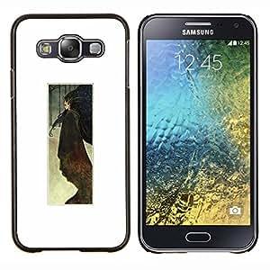 LECELL--Funda protectora / Cubierta / Piel For Samsung Galaxy E5 E500 -- Acuarela Cartel minimalista Blanca --