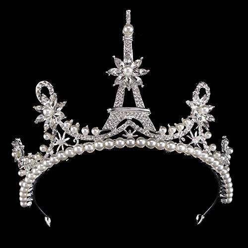 - Santfe 3.5'' Tall Crystal Pearls Flower Wedding Tiara Rhinestone Crown Crystal Headpiece Rhinestone Tiara Crystal Bridal Crown (Silver)