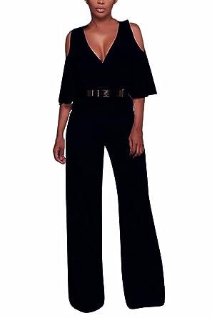 fff13b9289c VamJump Ladies Elegant Evening Cold Shoulder Ruffle Sleeve Long Romper  Outfit L