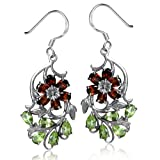 Natural Garnet & Peridot 925 Sterling Silver Flower & Leaf Dangle Earrings