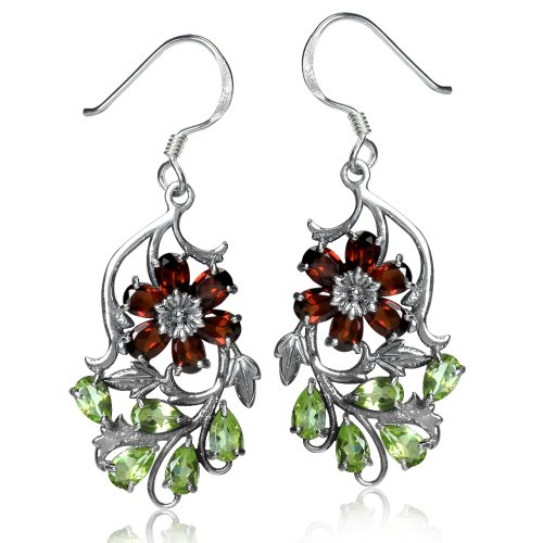 (Silvershake Natural Garnet and Peridot 925 Sterling Silver Flower Leaf Dangle Hook Earrings)