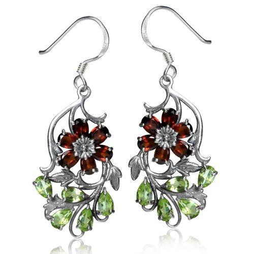 Silvershake Natural Garnet and Peridot 925 Sterling Silver Flower Leaf Dangle Hook Earrings