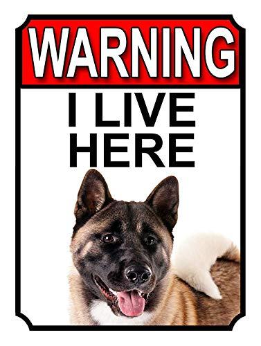 警告私はここに住んでいます 金属板ブリキ看板注意サイン情報サイン金属安全サイン警告サイン表示パネル