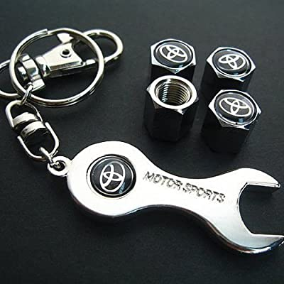 Toyota Tire Valve Caps with Wrench Keychain: Automotive
