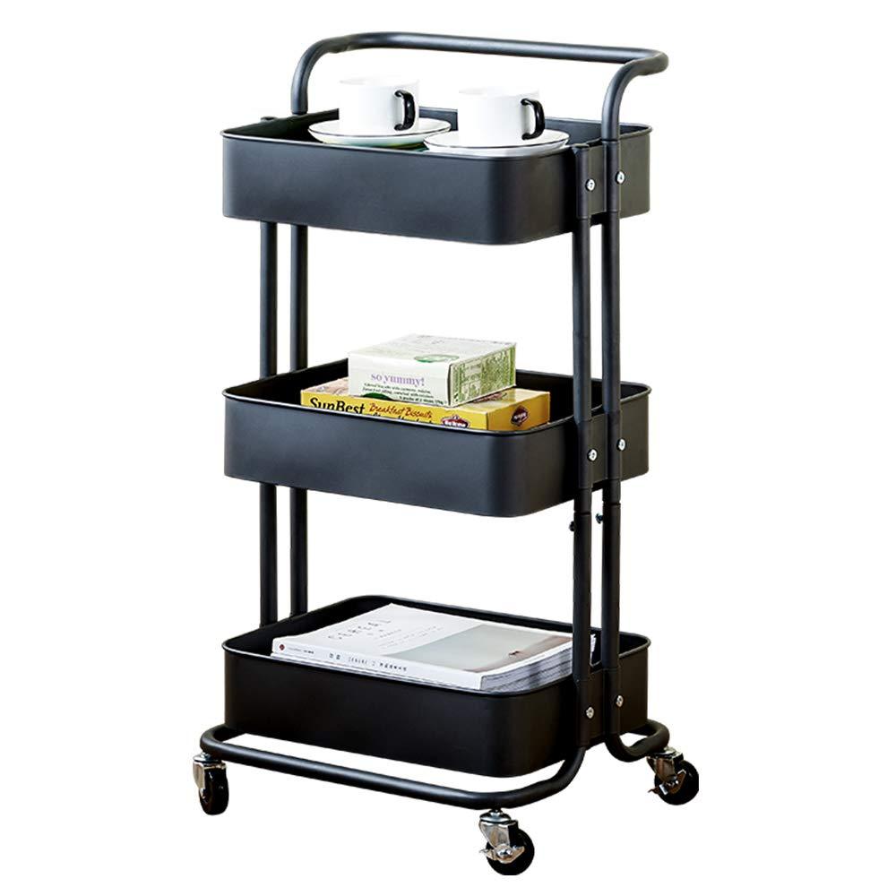 3-Tier Rolling Cart Metal Utility Cart with Handles, Bathroom Storage Cart Kitchen Organization Storage Trolley