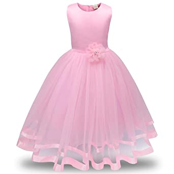 Niños vestido de niña sonnena Flores niña Princesa dama de honor fijo Tren Tutu tul Gown