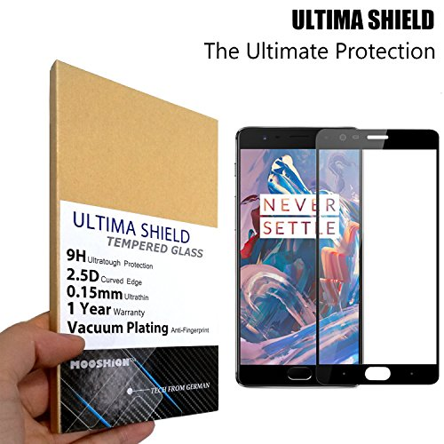 Price comparison product image MOOSHiON ONE PLUS THREE(A3000) FULL COVERAGE Black Screen Protector,Ultima Shield 0.15mm Tempered Glass [Anti-fingerprint Shutter Proof 9H 2.5D Curved Edge] (ONE PLUS THREE - Black)