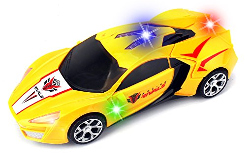 Racing Rivals Transforming Battery Operated Kid's Bump and Go Toy Car w/ Cool Flashing Lights, Music