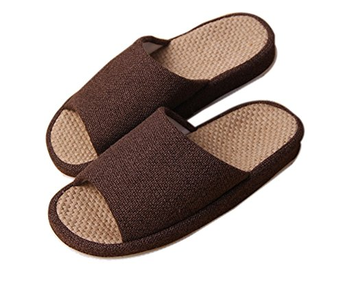 Bronze Times (TM) Zapatillas de Casa de Lino Algodón Antideslizantes Tatami Verano Premium Cáfe