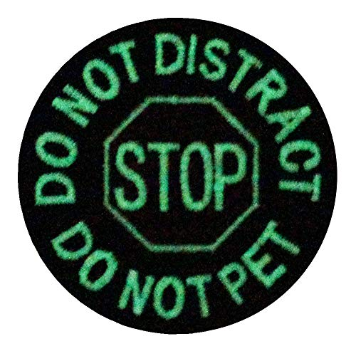 Glow in Dark Service Dog Do Not Distract Do Not Pet Vests/Harnesses Emblem Embroidered Fastener Hook & Loop Patch -