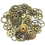 Yueton® 100 Gram Assorted Antique Steampunk Gears Charms Pendant Clock Watch Wheel Gear for Crafting, Jewelry Making Accessory (Bronze)
