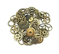 Yueton® 100 Gram Assorted Antique Steampunk Gears Charms Pendant Clock Watch Wheel Gear for…