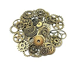 Yueton 100 Gram (Approx 70pcs) Assorted Antique Steampunk Gears Charms Pendant Clock Watch Wheel Gear for Crafting, Jewelry Making Accessory (Bronze)