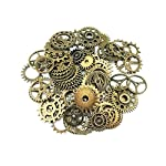 Yueton 100 Gram (Approx 70pcs) Antique Steampunk Gears Charms Clock Watch Wheel Gear for Crafting 5