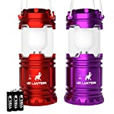 LED Camping Lantern - MalloMe LED Camping Lantern Flashlights with 6 AA Batteries, Pack of 2 (Red / Purple)