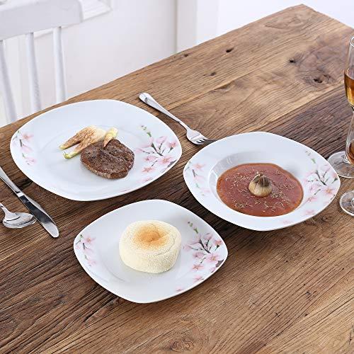 VEWEET 4-Piece Porcelain Dessert Plate Set, Durable Ivory White Bread 7-1/2 Inch Salad Plates ANNIE Series by VEWEET (Image #7)