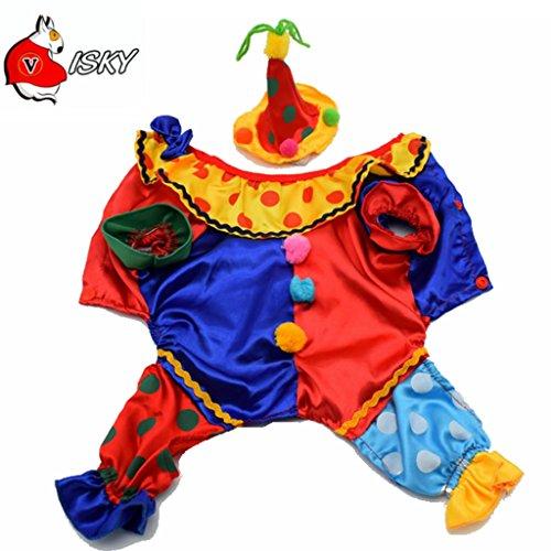 [Visky Dog Clown Costume Pet Puppy Cat Halloween Costume with Hat --Large] (Pet Costumes Halloween)