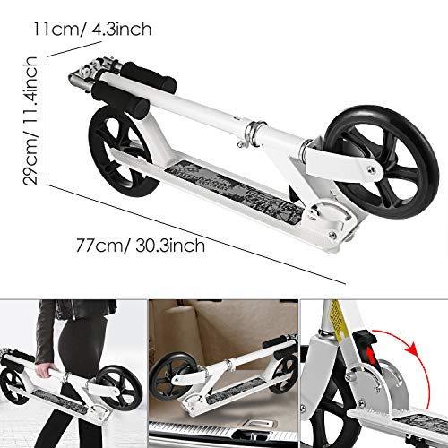 Hikole Kids Scooter - Portable Foldable Adjustable Ultra-Lightweight | Adult Teen Youth Kick Scooter with Easy Fold-n-Carry Design, Birthday Gifts for Kids 8 Years Old and Up | Support 220 lbs by Hikole (Image #3)