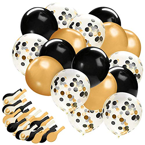 Gold Confetti Balloons, 30 Pc Black and Gold Confetti Balloons,12