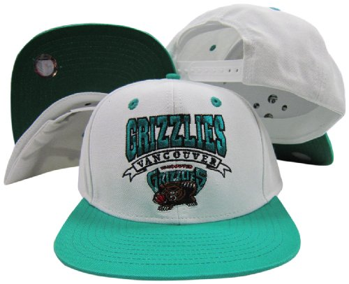 (adidas Vancouver Grizzlies White/Teal Two Tone Snapback Adjustable Plastic Snap Back Hat/Cap )