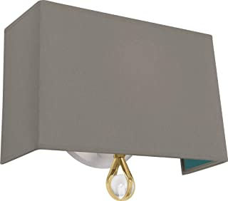 product image for Robert Abbey BN341 Williamsburg Custis - One Light Wall Sconce, Modern Brass/Lead Crystal Finish with Carter Gray Fabric/Mayo Teal Lining Shade