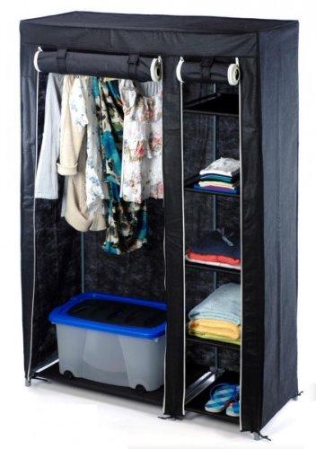 Faltschrank schwarz - Kleiderstange & Reißverschluss - 110 x 46 x ...
