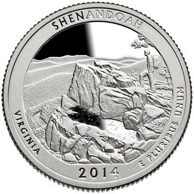 2014 S America the Beautiful Virginia Shenandoah Proof Quarter PF1