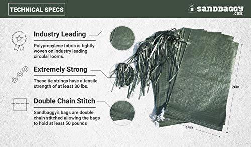 Sandbaggy - Empty Poly Sandbags W/ UV Protection - Size: 14'' x 26'' - Color: Green - Military Grade (500 Bags) (Renewed) by Sandbaggy (Image #2)