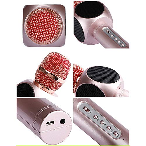 Wireless Karaoke Microphone 3 in 1 Portable Bluetooth Karaoke Player System with Two Built-in Speakers Compatible with Android & iOS for Home KTV Bar Party Muisc Playing Singing & Recording Wireless B by Xiuzhifuxie (Image #2)